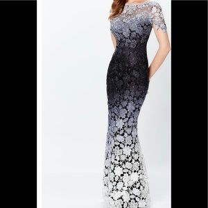 Montage Beaded Venise Lace Ombre Fit & Flare Gown